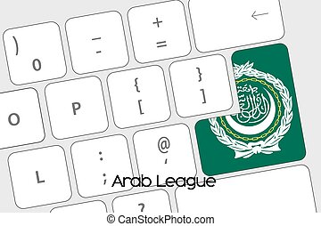 Keyboard with the Enter button being the Flag of Arab League