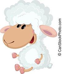illustration of a little lamb sits