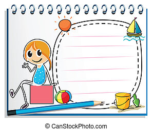 Illustration of a notebook and a pencil with an image of a girl sitting on a box on a white background