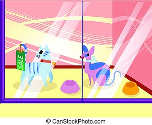 Illustration of a petshop with cats. Lovely cartoon animals in the showcase. vector illustration