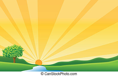 illustration of a river and a sun in a beautiful nature