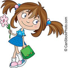 Illustration of a smiling girl