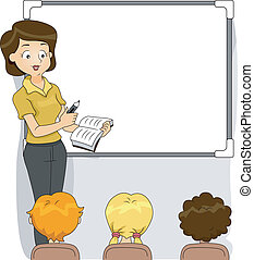 Illustration of a Teacher Discussing the Lesson for the Day