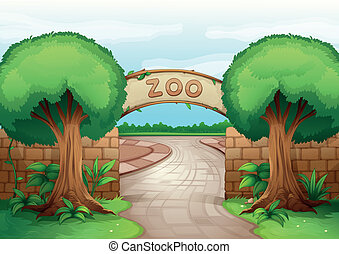 illustration of a zoo in a beautiful nature