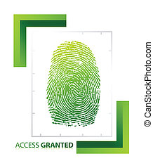 illustration of access granted sign with thumb on isolated background