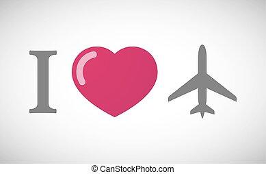"""I love"" hieroglyph with a plane"