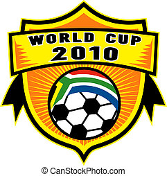 illustration of an icon for 2010 soccer world cup with soccer ball with flag of republic of south africa inside a shield