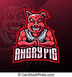 Angry pig esport mascot logo design