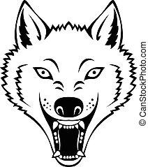 Angry wolf head tattoo