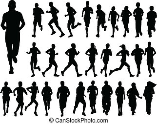illustration of big collection of running people - vector