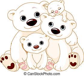 Illustration of Big Polar bear family