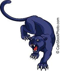 Black panther attacking