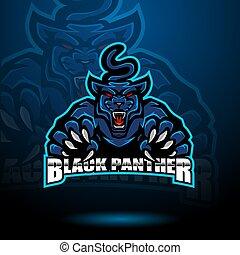 Black panther esport mascot logo