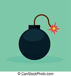 bomb icon on green background