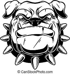 Illustration of boxer dog head in vintage monochrome style. Design element for logo, emblem, sign, poster, card, banner. Vector illustration