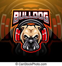 Bulldog wearing headphones esport mascot logo
