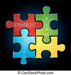 illustration of business strategy and plan against black background