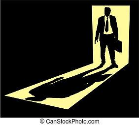 Illustration of businessman with briefcase standing in doorway