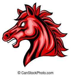 Cartoon angry horse head mascot