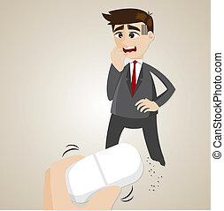 cartoon businessman erased by anather hand
