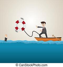 cartoon businessman helping teammate with lifebuoy