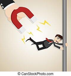 cartoon businessman magnetize by boss