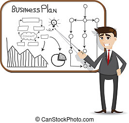 illustration of cartoon businessman presentation with business plan