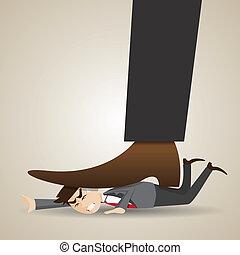 cartoon businessman stomped by boss