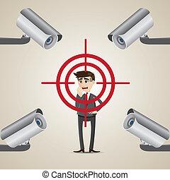 cartoon businessman targeted lock on by cctv