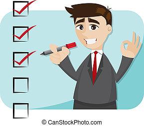 illustration of cartoon businessman with checklist