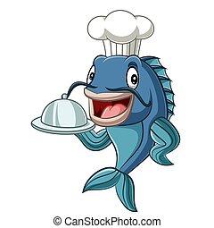 Cartoon chef fish holding a tray