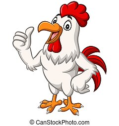 Cartoon chicken rooster mascot giving thumb up