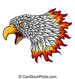 Cartoon eagle head mascot with flames
