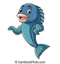 Cartoon fish mascot waving hand