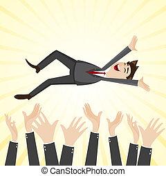 cartoon happiness businessman throw up teammate hand