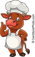 Cartoon happy cow chef giving thumbs up