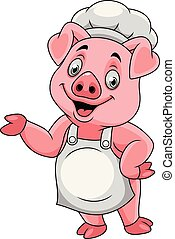 Cartoon happy pig chef presenting