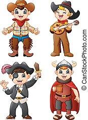 Cartoon kids wearing a different costume