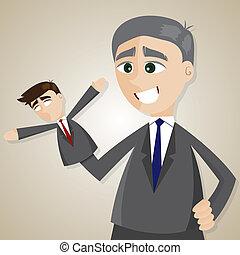 cartoon puppet businessman manipulated by older boss