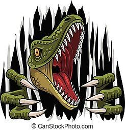 illustration of Cartoon raptor mascot ripping