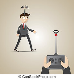 cartoon robotic businessman controlled by boss