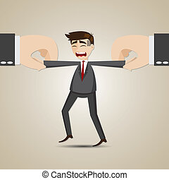cartoon selected businessman pulling by another hand