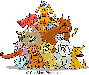 Illustration of Cats and Dogs group in friendship