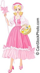 Illustration of Charming Shepherdess with flowers