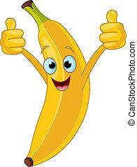 Illustration of Cheerful Cartoon Banana character