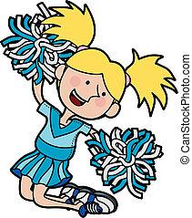 Illustration of girl cheerleading jumping in air