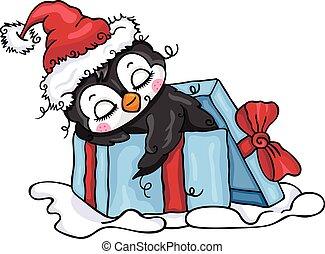 Illustration of Christmas penguin inside blue gift box