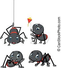 collection of spider cartoon