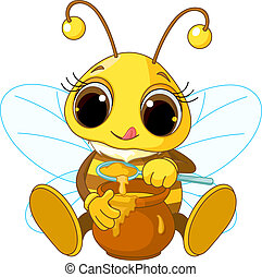 Illustration of Cute Bee eating honey