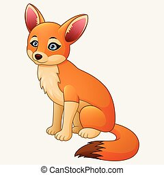 Cute fox cartoon sitting